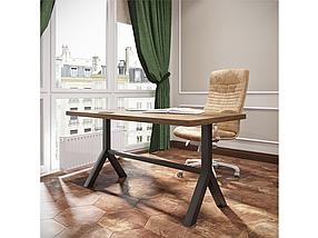 Стол обеденный Лекс каркас черный бархат, столешница ДСП Дуб Античный 1200*750 мм (Металл дизайн)