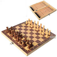 Шахматы шашки нарды деревянные Clasic 3 в 1 (7702)