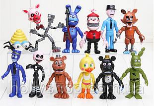 Комплект із 12 фігурок фігурок ФНАФ з гри 5 ночей з Фредді (FNAF), ~ 10см + подарунок мішок!, фото 2