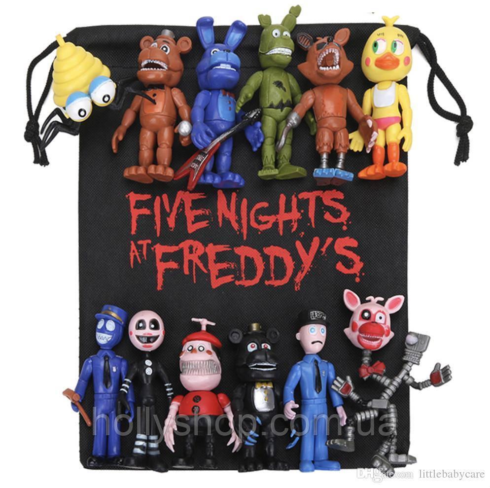 Комплект із 12 фігурок фігурок ФНАФ з гри 5 ночей з Фредді (FNAF), ~ 10см + подарунок мішок!