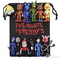Комплект из 12 фигурок фигурок ФНАФ из игры 5 ночей с Фредди (FNAF), ~ 10см + подарок мешок!