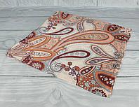Шелковый шейный платок Accessories 0011-08 коричневый, узор пейсли, фото 1