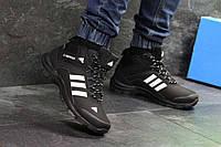 Мужские ботинки зимние черный с белым Adidas Climaproof 6955