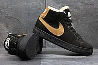 Мужские зимние ботинки  из натуральной замши черные 3616