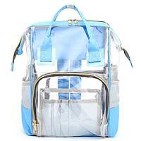 Прозрачная сумка рюкзак женская голубая Maison Fabre.