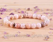 Браслет из розового опала, Натуральные камни, Форма камней: Шар, Размер камней: 8 мм