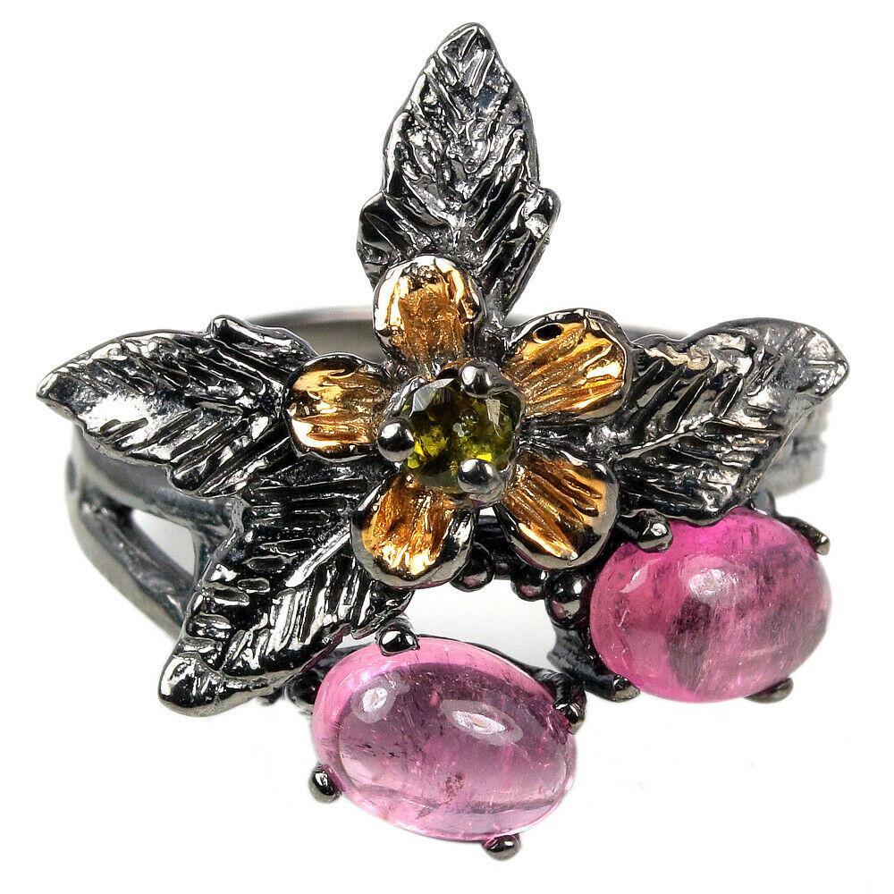 Серебряное кольцо с разноцветным турмалином, 2265КЦТ
