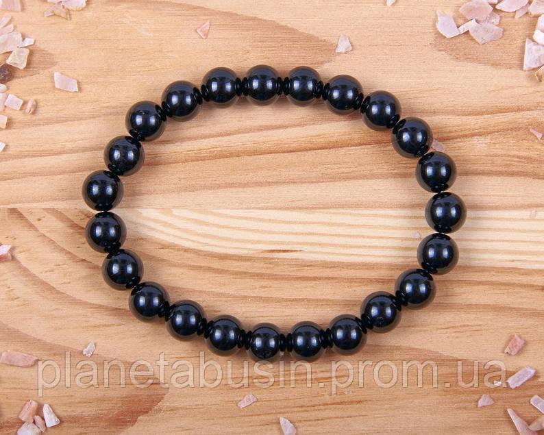 Браслет из черного турмалина, Натуральные камни, Форма камней: Шар, Размер камней: 8 мм