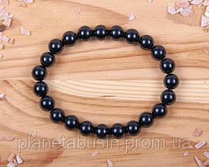 Браслет из черного турмалина, Натуральные камни, Форма камней: Шар, Размер камней: 8 мм, фото 2