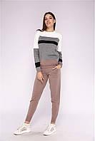 Костюм женский трикотажный двойка свитер и штаны, бежевый в полоску  размер S/M