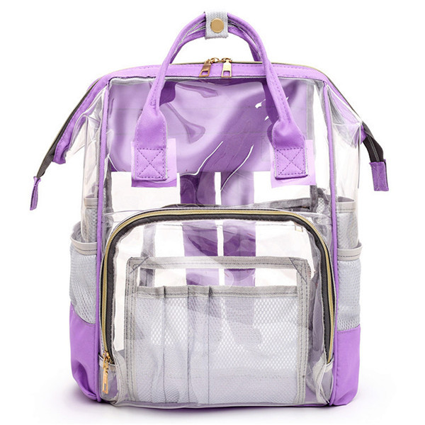 Прозрачная сумка рюкзак женская фиолетовая Maison Fabre.