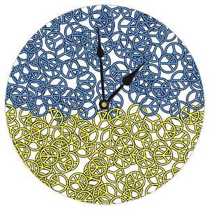 Настенные часы с желто синим принтом 36 см