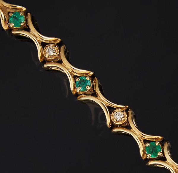 Жіночий браслет з жовтого золота з діамантами і смарагдами С41Л1№17