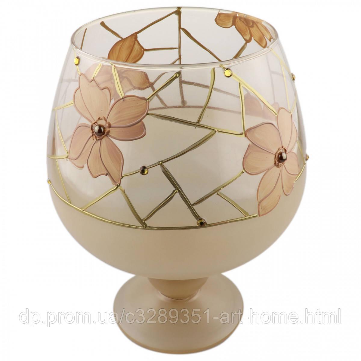 """Ваза стеклянная ручной работы """"Бежевые цветы"""" (Бокал средний) ZA-1255"""