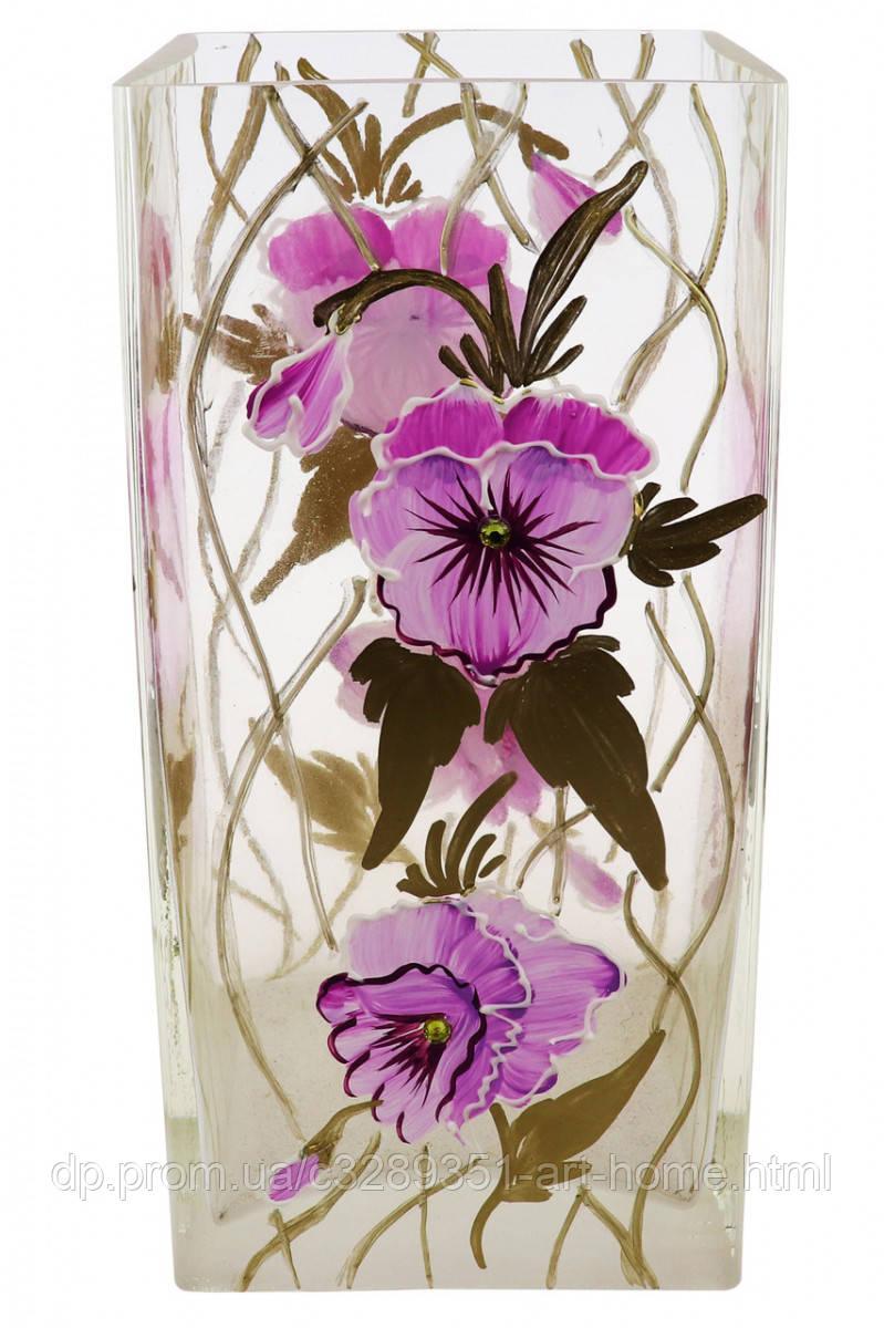 """Ваза стеклянная ручной работы """"Фиолетовые цветы"""" (Квадратный цилиндр маленький) ZA-1270"""