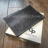 Елітна глянцева шкіряна обкладинка на паспорт Grande Pelle (чорна)