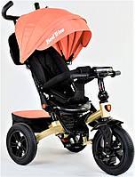 Детский велосипед трансформер 3-х колёсный персик Best Trike 9500 с надувными колесами и фарой