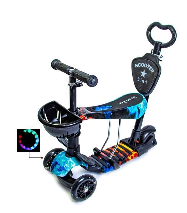 Детский самокат Scooter 5in1 Огонь и Лед