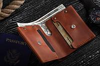 Мужской кожаный кошелек Billi Jean коньячный, фото 1