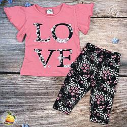 """Летний костюм """"Love"""" с бриджами для девочки Размеры: 1,2,3,4 года (20173-2)"""