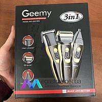 Триммер с насадками Geemy GM-595 Беспроводная аккумуляторная машинка для стрижки волос и бороды 3 в 1 Черная
