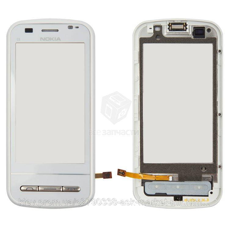 Сенсор для Nokia C6-00 Original White с рамкой