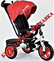 Детский велосипед трансформер трехколесный красный Best Trike 9500 с надувными колесами и фарой