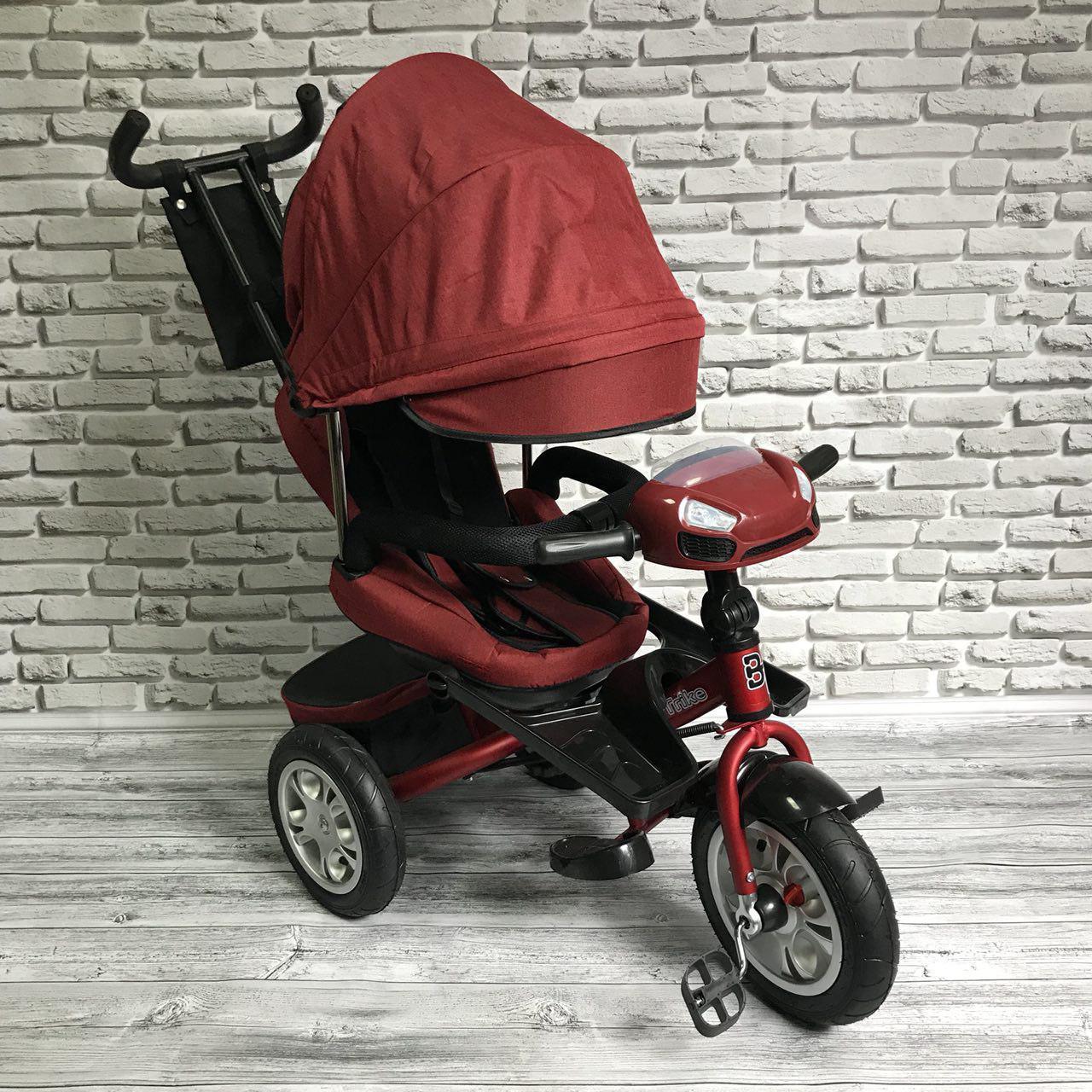 Велосипед трехколесный 5099-1 ткань лен, поворотное сиденье,музыка,надувные колеса (КРАСНЫЙ)