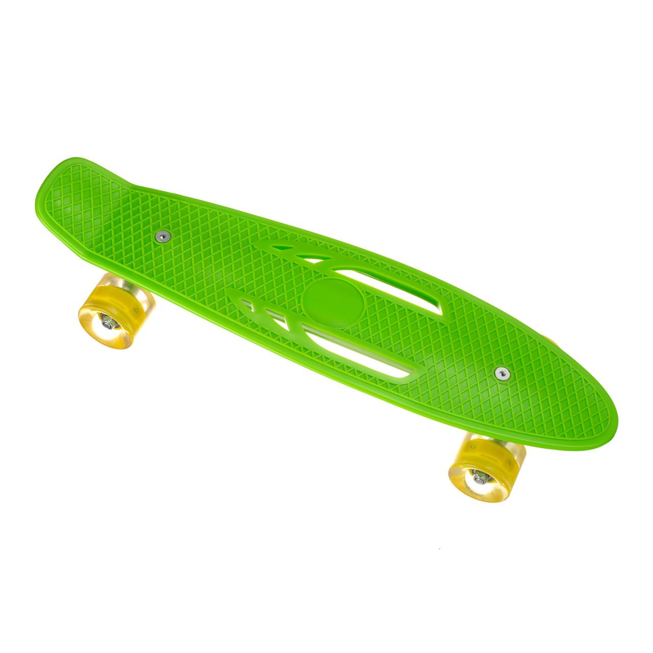 Пенниборд-скейт S206, дека з ручкою, колеса PU СВІТЯТЬСЯ