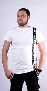 Мужская футболка из хлопка разных цветов с лентой 44-54 р