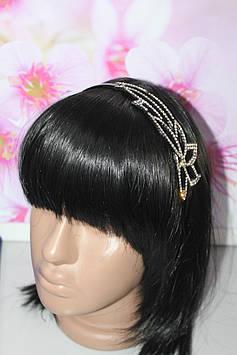 Элегантный ободок для волос черный с камнями