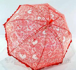 Зонт детский прозрачный с рюшами для девочек красный