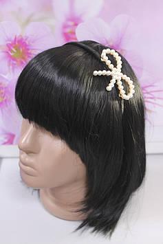 Привлекательный обруч для волос черный декор бантик с жемчужинами