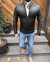 Мужская чёрная кожаная куртка (Кожанка)