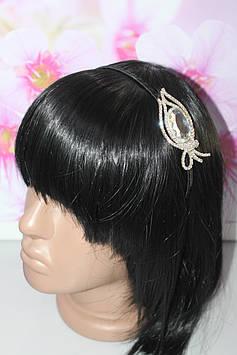 Шикарный тонкий обруч для волос черный серебристый декор с камнями