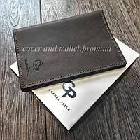 Елітна шкіряна обкладинка на паспорт ручної роботи Grande Pelle (шоколад)