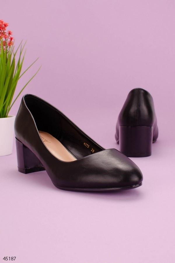 Туфлі жіночі чорні еко шкіра на підборах 5,5 см