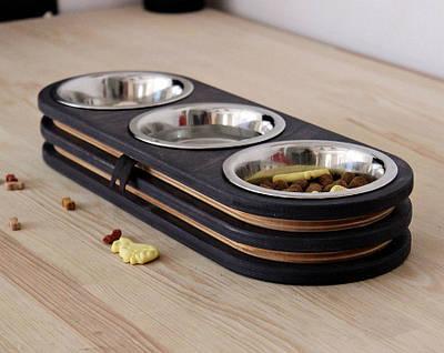 КІТ-ПЕС by smartwood Миски на підставці | Миска-годівниця металева для кішок котів кошенят XS - 3 миски