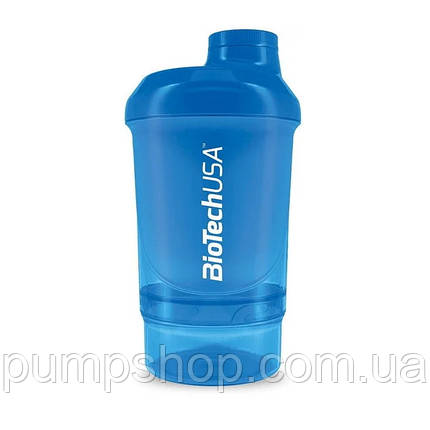 Шейкер Biotech USA Wave+Nano 300+150 мл отсек голубой, фото 2