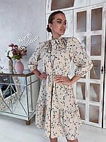 """Женское платье """"Лайма"""" с цветочным принтом и в горршек (размер: 42,44,46,48,50), фото 1"""