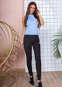 Костюм фитнес тройка топ, борцовка с капюшонон,брюки Черный+голубой