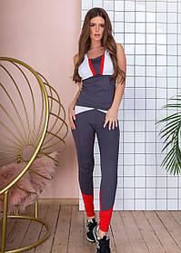 Спортивный костюм женский фитнес, майка лосины, с цветными вставками, Графит+красный