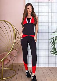 Спортивный костюм женский фитнес, майка лосины, с цветными вставками, Черный+красный