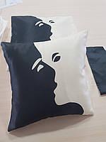 Подушка   в подарок Поцелуй принт, 40х40см
