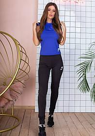 Костюм фитнес тройка топ, борцовка с капюшонон,брюки Черный+синий
