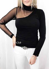 Кофта женская рукав сетка Черный
