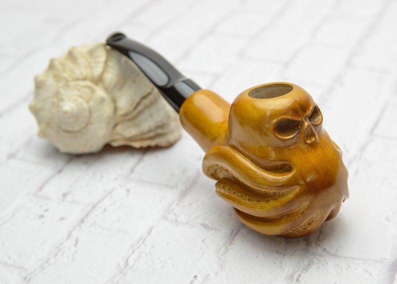 Осьминог авторская резная трубка из дерева груши с мундштуком под фильтр 9мм