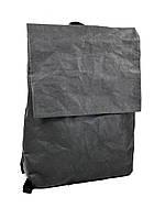 Рюкзак женский с клапаном городской средний непромокаемый бумажный черный, фото 1