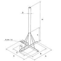 Стійка плитка для супутникової антени під 1,25 м, полярка
