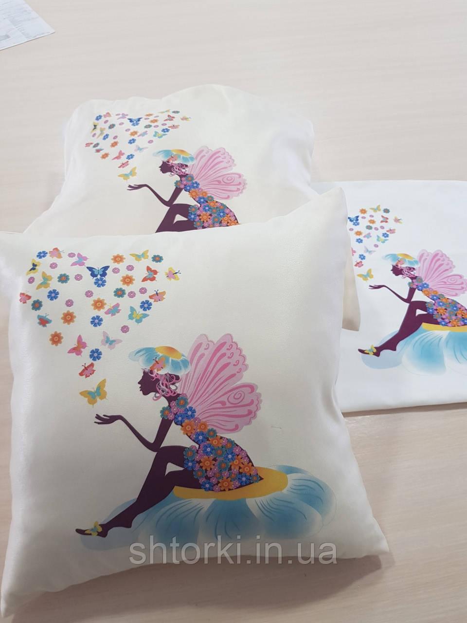 Подушка   в подарок Фея и бабочки, 40х40см